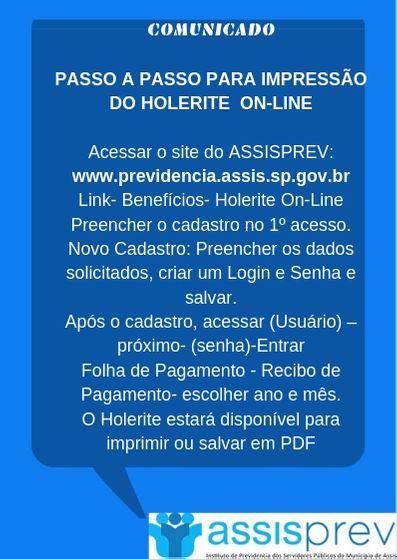 Holerites disponíveis no site do AssisPrev